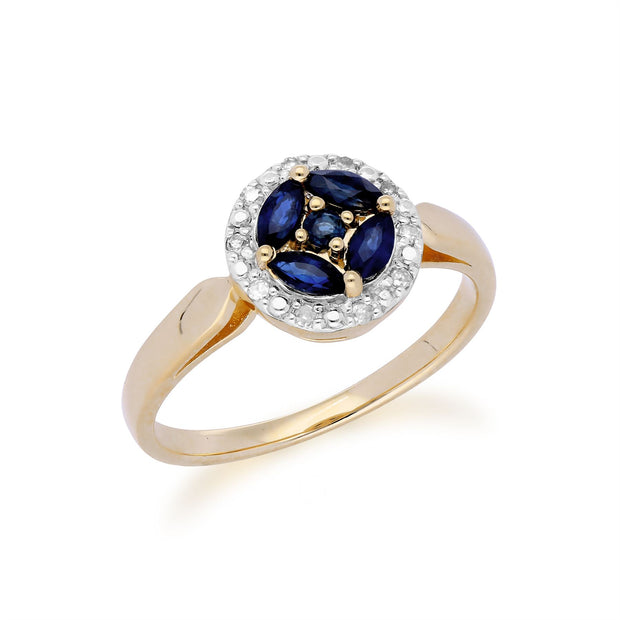 Gemondo 9ct Yellow Gold Sapphire Cluster and Diamond Halo Ring