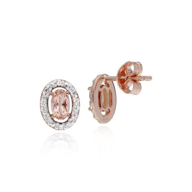 Morganite Oreille, 9ct or Rose 0.44 CT Morganite & Diamant Ovale Halo Boucles
