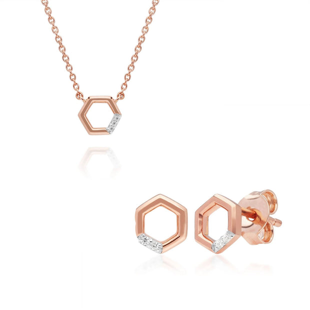 Collier et Boucles d'Oreilles Clou Hexagone Pavé Diamant Or Rose 375 Diamant
