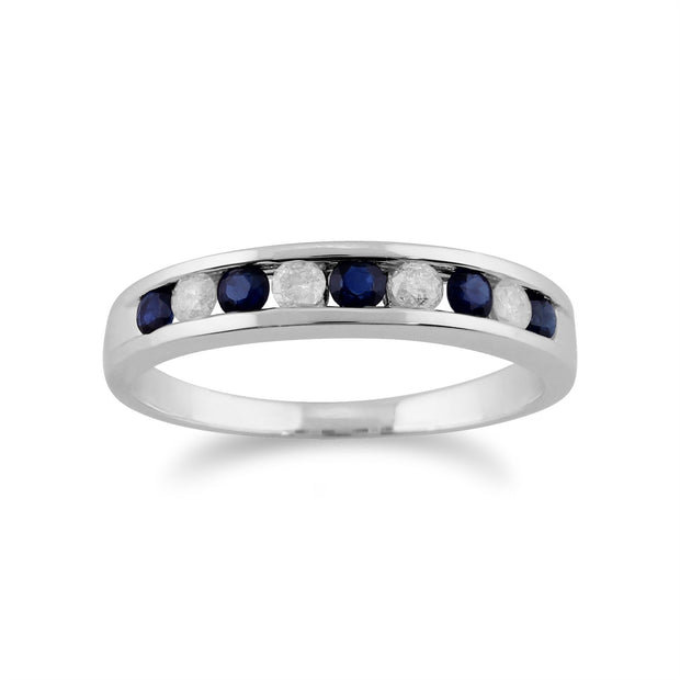 Blanc 9 Ct Or 0.27ct CT Naturel incrustée Bague demi éternité diamant