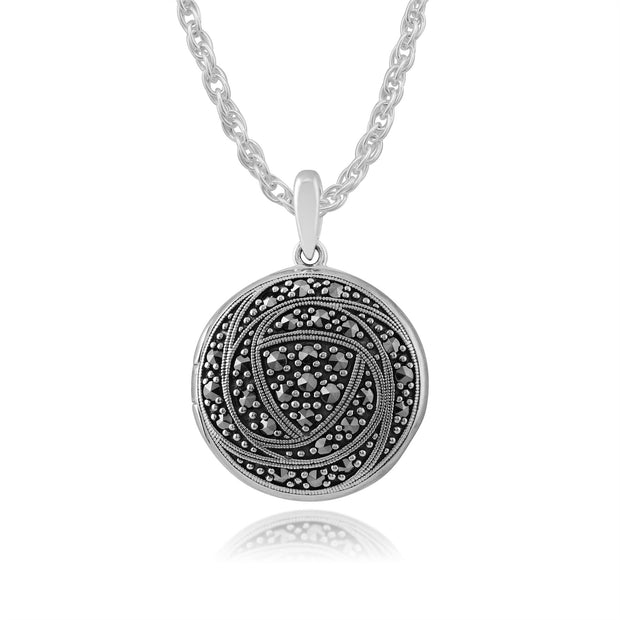Pendentif Rose Porte-Photo Style Rennie Mackintosh Argent 925 Marcassite