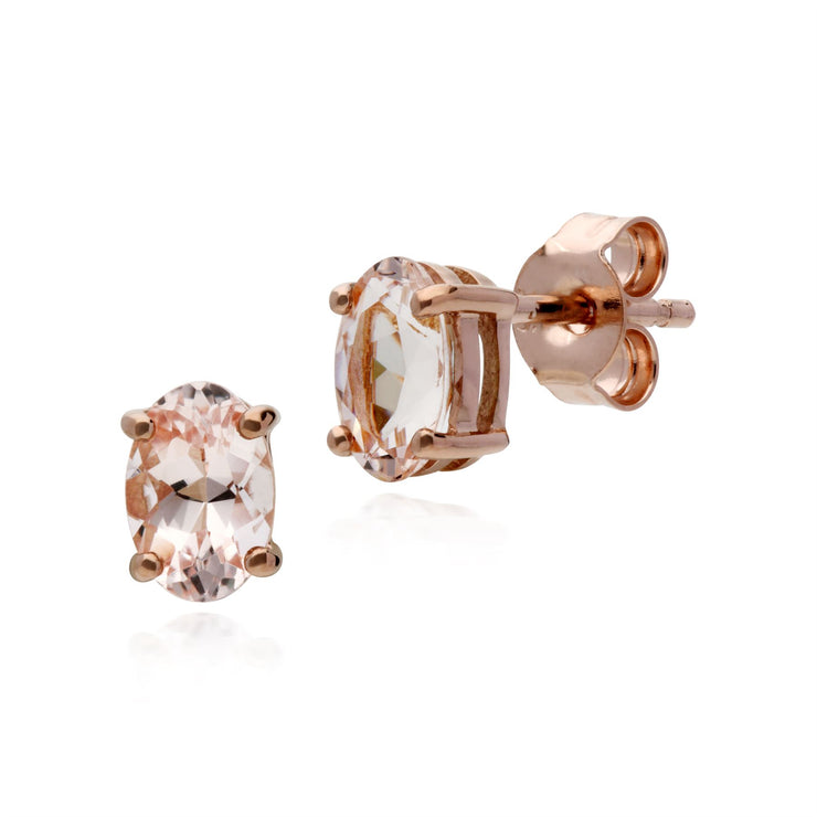Morganite Oreille, 9ct or Rose 0,81 Carat Morganite Boucles