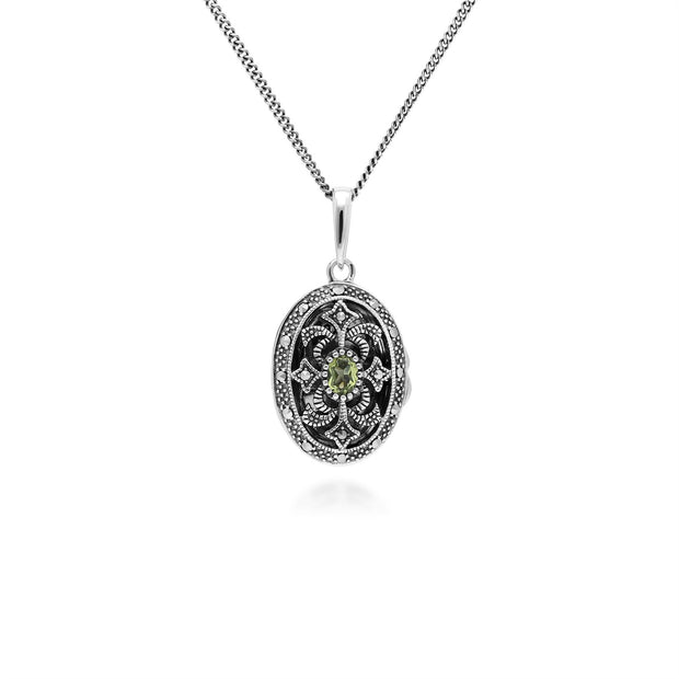 Collier Porte-Photo Style Art Nouveau Argent 925 Péridot Oval