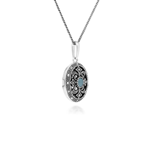 Collier Porte-Photo Style Art Nouveau Argent 925 Jade Verte Teinte Oval