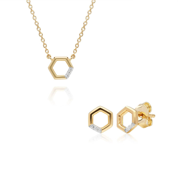 Collier et Boucles d'Oreilles Clou Pavé Diamant Hexagone Or Jaune 375 Diamant
