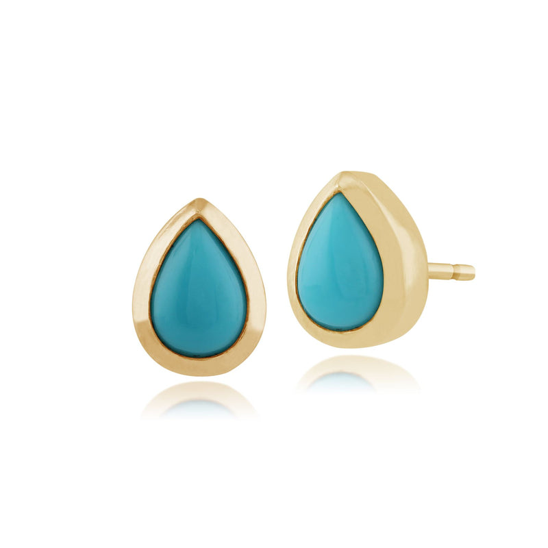 Turquoise Boucles D'Oreilles, 9 CT or Jaune 0,65 CT Turquoise Boucles D'Oreilles