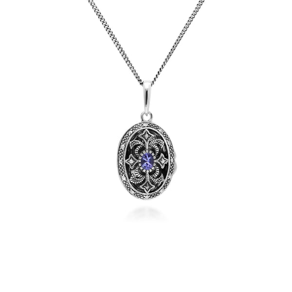 Collier Porte-Photo Style Art Nouveau Argent 925 Tanzanite Oval