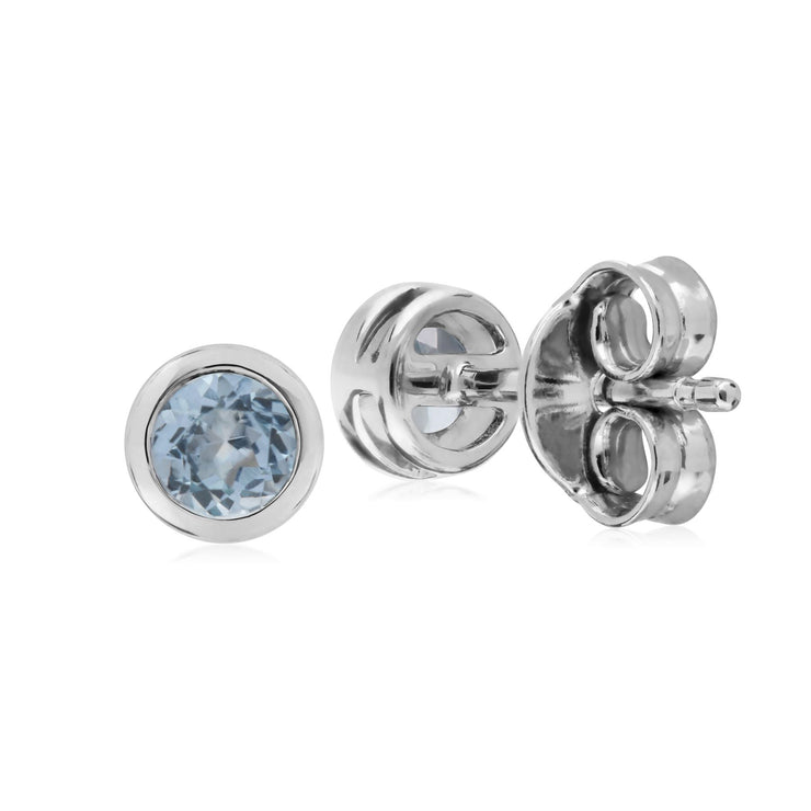 Aigue-Marine Boucles D'Oreilles, Argent Sterling Simple Aigue-Marine Chaton Round Stud Earrings