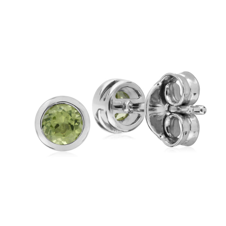 Peridot Boucles D'oreilles, Argent Sterling Simple Peridot Chaton Round Stud Earrings