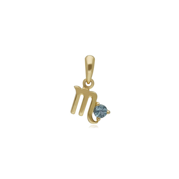 Charms Zodiaque Scorpion Or Jaune 375 Topaze Bleue