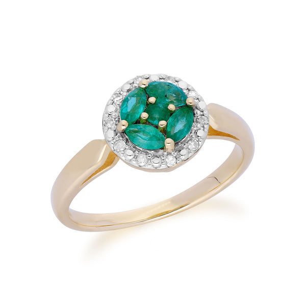 Gemondo 9ct Yellow Gold Emerald Cluster and Diamond Halo Ring