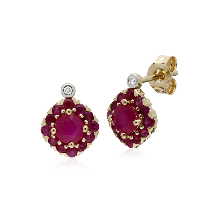 s 9 Ct Rubis or Jaune & Diamant Carré Grappe Boucles D'Oreilles Clous