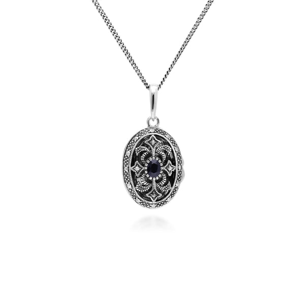 Collier Porte-Photo Style Art Nouveau Argent 925 Saphir oval