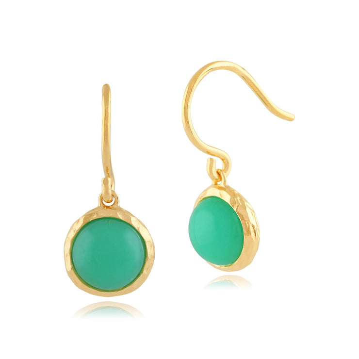 Chrysoprase 'Irida' Pastel Earrings in 9ct Or Jaune Plaqué Argent Sterling