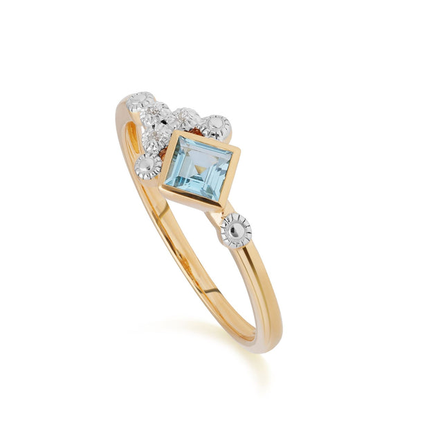 Bague Contemporaine Or Jaune 375 Topaze Bleue et Diamant