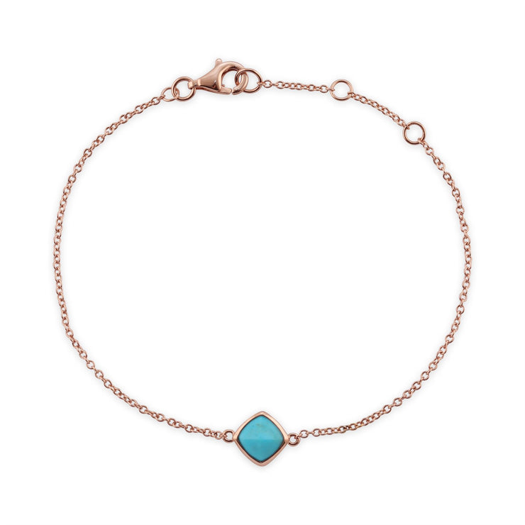 Turquoise Bracelet, 9 CT Plaqué or Rose Argent Sterling Coussin Turquoise Bracelet