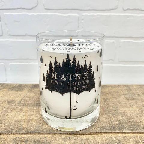 Maine Dry Goods Screen-print Candle