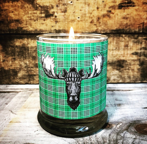 Limited Batch Green Plaid Moose Candle
