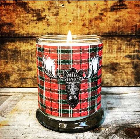 Limited Batch Red Plaid Moose Candle