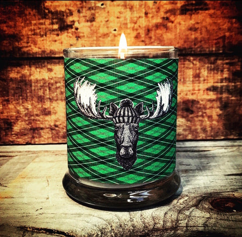 Limited Batch Green Diamond Plaid Moose Candle