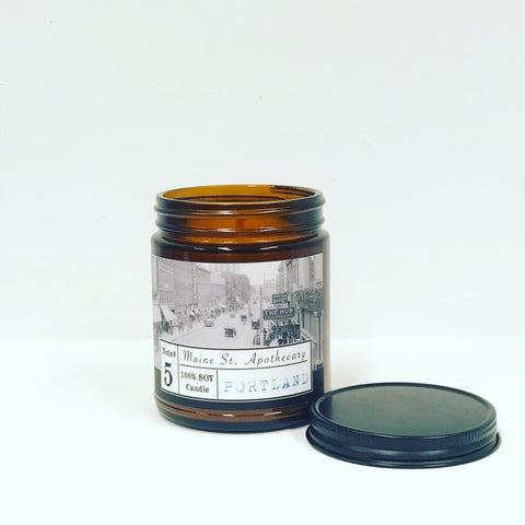 *New* Maine Street Apothecary 7 oz 'Portland' Amber Candle w/ Lid