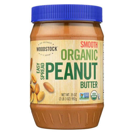Woodstock Organic Easy Spread Peanut Butter - Smooth - Case Of 12 - 35 Oz.