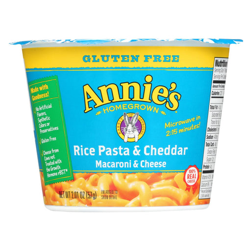 Annie's Homegrown Gluten Free Rice Pasta And Cheddar Microwavable Mac And Cheese Cup - Case Of 12 - 2.01 Oz.