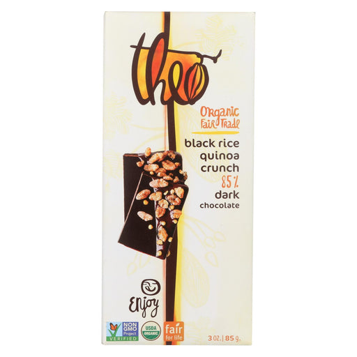 Theo Chocolate Black Rice Quinoa Crunch - 85 Percent Dark Chocolate - Case Of 12 - 3 Oz.