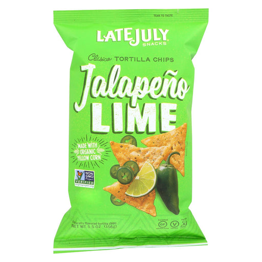 Late July Snacks Classic Tortilla Chips - Jalapeno Lime - Case Of 12 - 5.5 Oz.