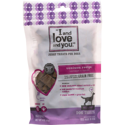 I And Love And You Dog Treats - Nice Jerky - Venison And Lamb Bites - 4 Oz - Case Of 6