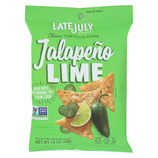 Late July Snacks Tortilla Chips - Jalapeno Lime Clasico - Case Of 24 - 1.5 Oz.