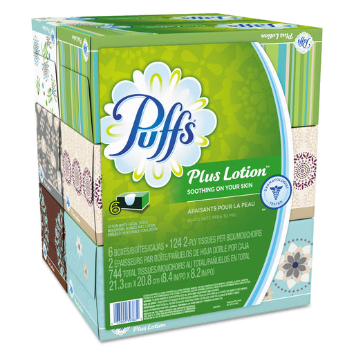 Puffs Plus Lotion Facial Tissue, White, 2-ply, 8 1-5x8 2-5, 124-box, 6bx-pk, 4pk-ctn
