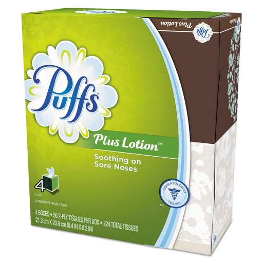 "Puffs Plus Lotion Facial Tissue, White, 1-ply, 8 1-5"""" X 8 2-5"""", 56-box, 24-carton"