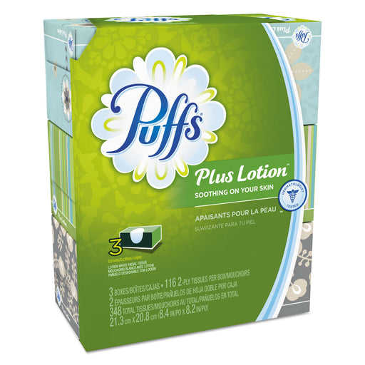 Puffs Plus Lotion Facial Tissue, White, 2-ply, 116-box, 3 Boxes-pack, 8 Packs-carton