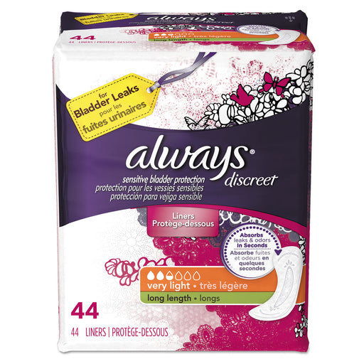 Always Discreet Sensitive Bladder Protection Liners, Very Light, X-long,44-pk,3pk-ctn