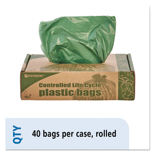 Eco-degradable Plastic Trash Garbage Bag, 33gal, 1.1mil, 33 X 40, Green, 40-box