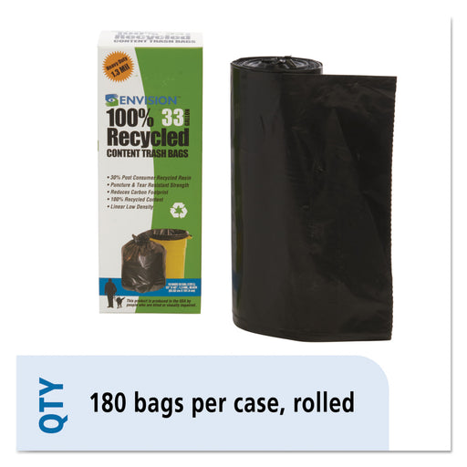 Recycled Plastic Trash Bags, 33 Gal, 1.3 Mil, 33 X 40, Brown-black, 180-carton