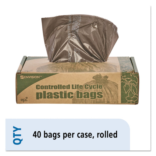 Eco-degradable Plastic Trash Garbage Bag, 39gal, 1.1mil, 33 X 44, Brown, 40-box
