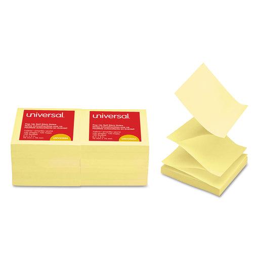 Fan-folded Self-stick Pop-up Note Pads, 3 X 3, Yellow, 100-sheet, 12-pack