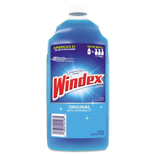 Windex Powerized Glass Cleaner With Ammonia-d, 67.6oz Refill, Unscented, 6-carton