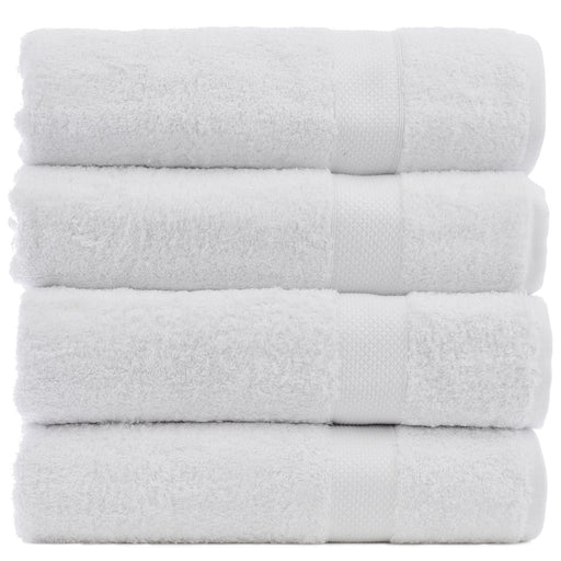Luxury Hotel & Spa Towel 100% Genuine Turkish Cotton Bath Towels - White - Bamboo  - Set Of 4