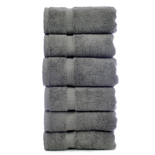 Luxury Hotel & Spa Towel 100% Genuine Turkish Cotton Hand Towels - Gray - Dobby Border  - Set Of 6