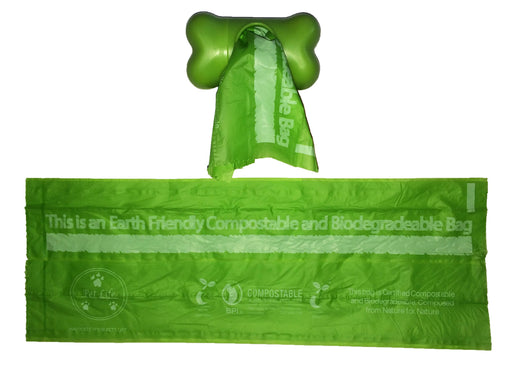 100% Compostable, Recyclable And Biodegradable Eco-friendly Pet Waste Bags From Thermoplastic Starch - 4 Pack Of Refill Rolls