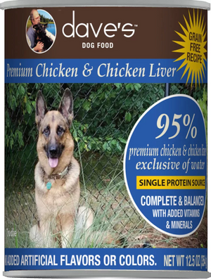 Dave's 95% Premium Chicken & Chicken Liver Recipe Canned Dog Food