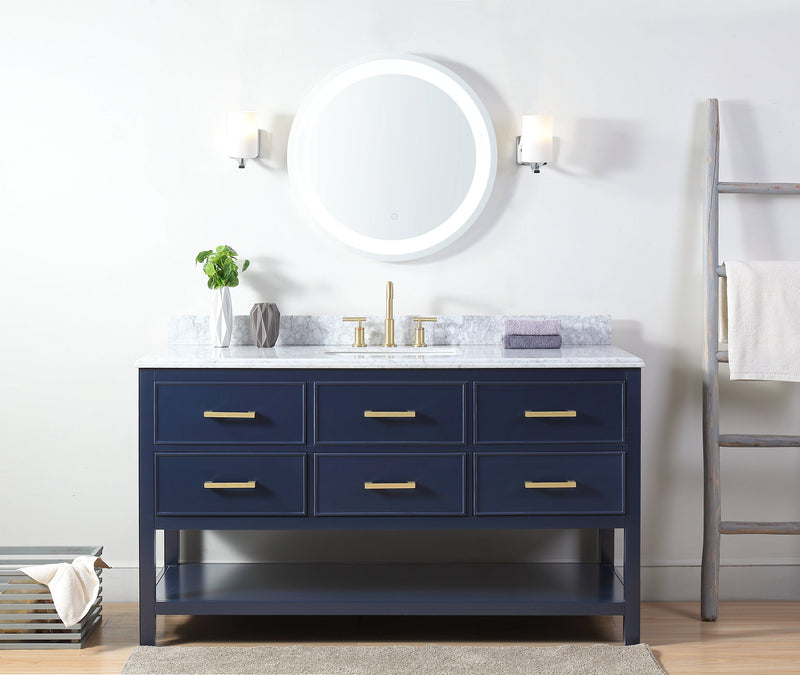 "60""  Tennant Brand Italian Carrara Navy Blue Color Finish Single Sink Vanity - Aruzza  - 2822-S60NB"