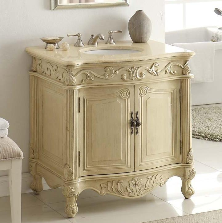 "32"" Traditional style cream marble Fiesta Bathroom Sink Vanity CF-2873M-LT - Chans Furniture - 1"