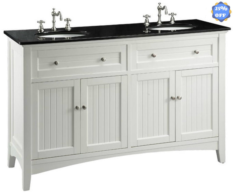 "*REFURBISHED/INFERIOR ITEM (IMPERFECTION)* 60""  Cusual Style Double Sink Thomasville Bathroom Sink Vanity - CF47530GT"