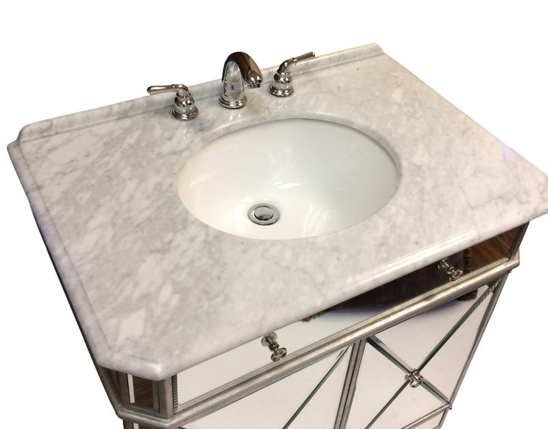 "32"" Benton Collection Mirror Reflection Austell Bathroom Sink Vanity - 505RA  Silver leaf finish"