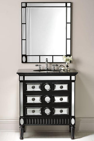 "32"" Classic Ambrosia with mirrored reflection Bathroom Sink Vanity & Mirror Set  HF-0534GT/MR-534BK-2834 - Chans Furniture - 1"