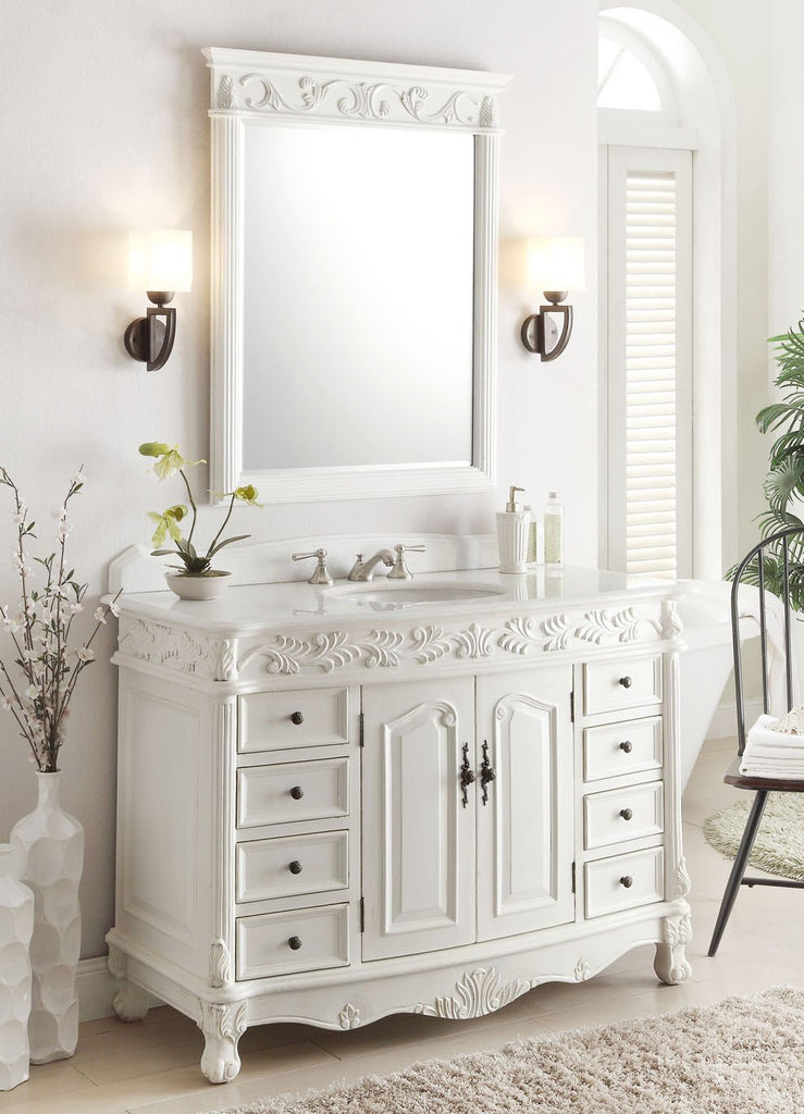 48 Benton Collection Antique White Florence Vanity Mirror Set
